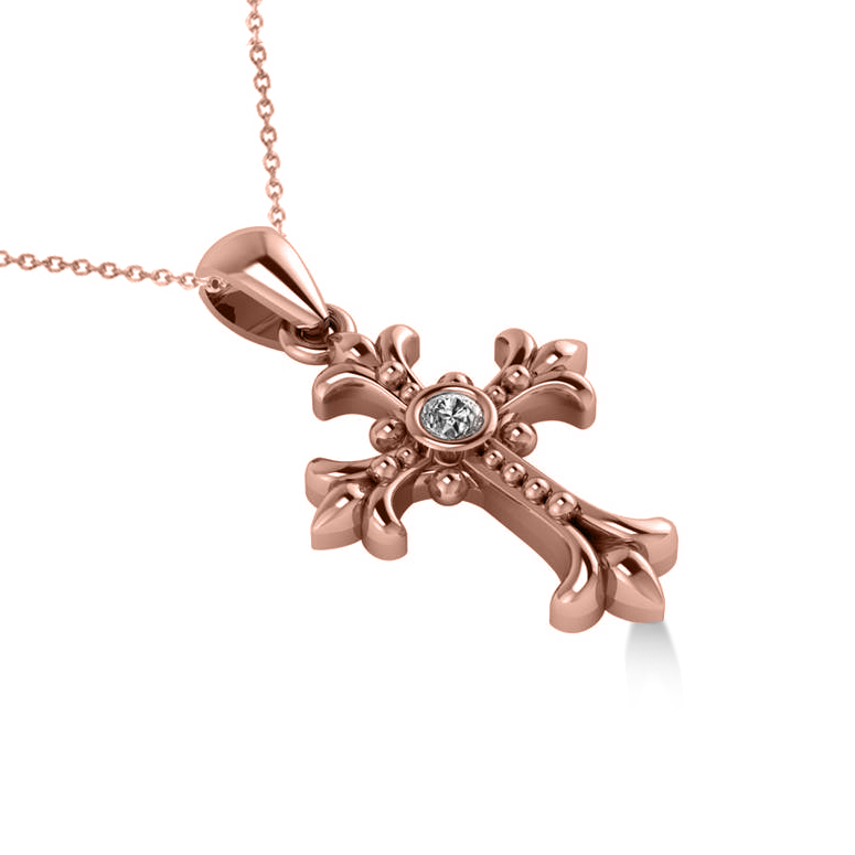 Diamond Gothic Cross Pendant Necklace 14k Rose Gold (0.03ct)