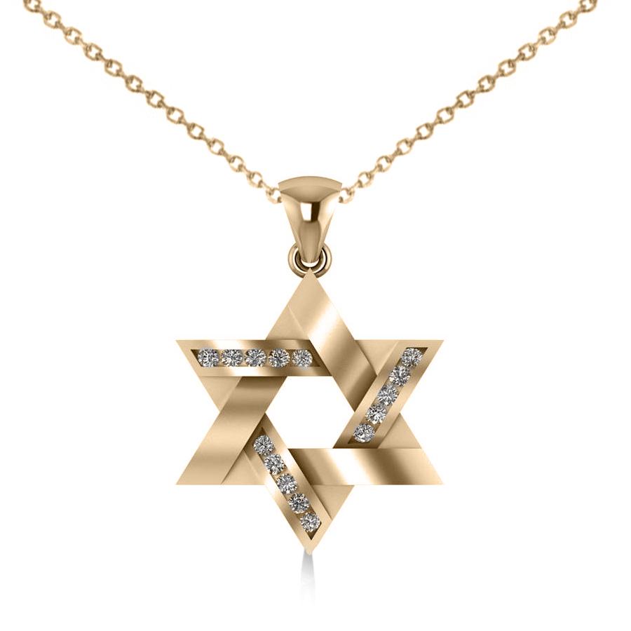 Diamond star david pendant necklace 14k yellow gold 023ct allurez diamond star of david pendant necklace 14k yellow gold 023ct aloadofball Choice Image