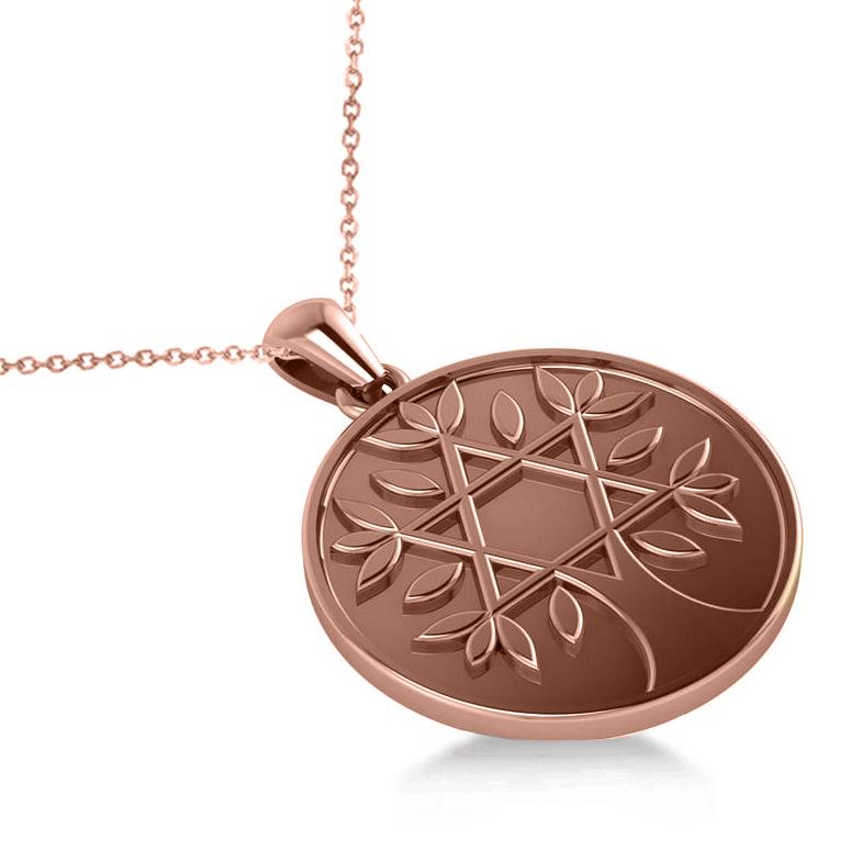 Jewish Family Tree Star of David Pendant Necklace 14k Rose Gold