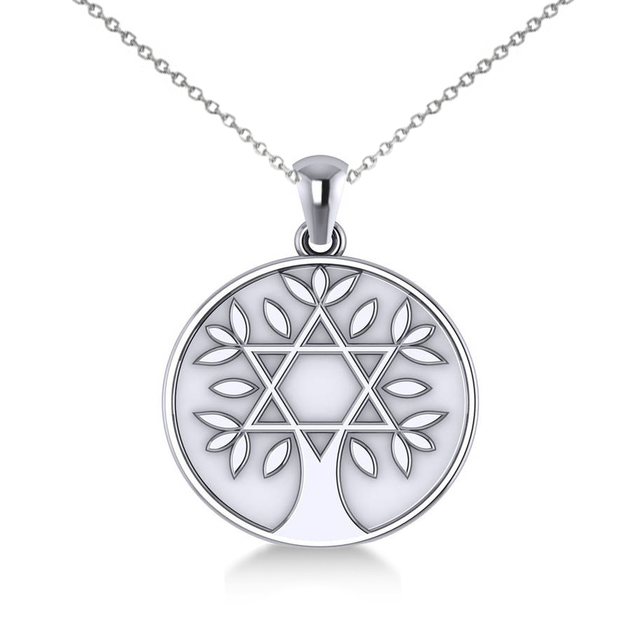 Jewish Family Tree Star David Pendant Necklace 14k White Gold