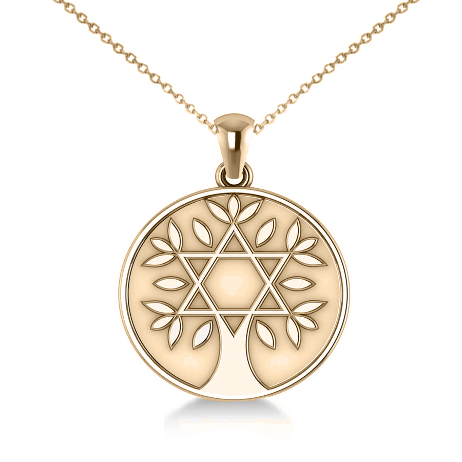 Jewish family tree star david pendant necklace 14k yellow gold for Star of david necklace mens jewelry
