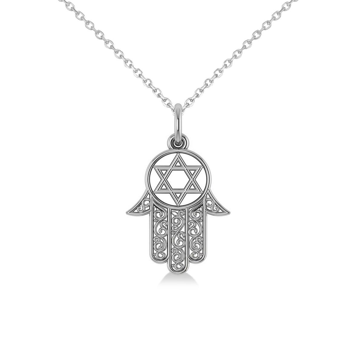 Star of David Hamsa Pendant Necklace 14k White Gold