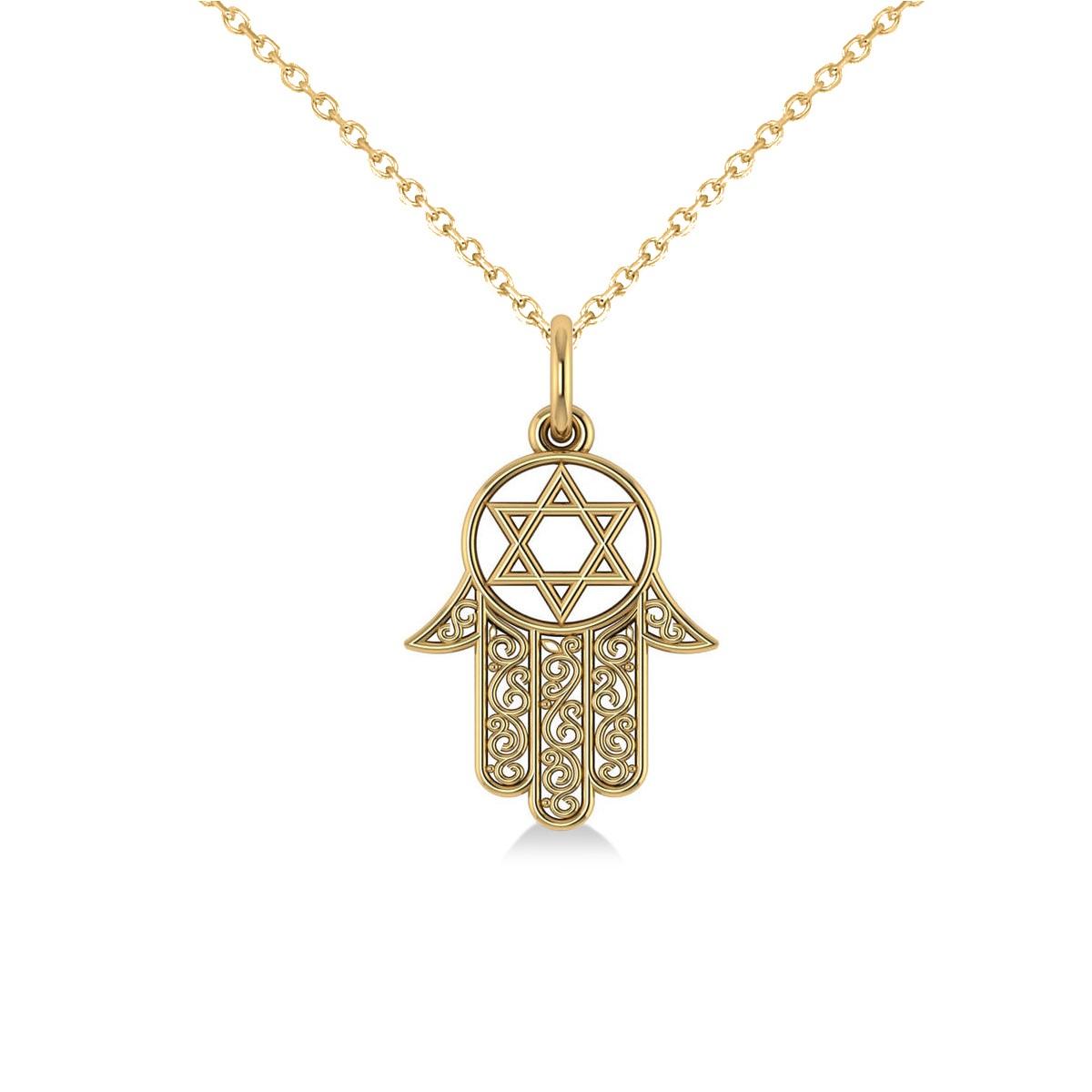 Star of David Hamsa Pendant Necklace 14k Yellow Gold