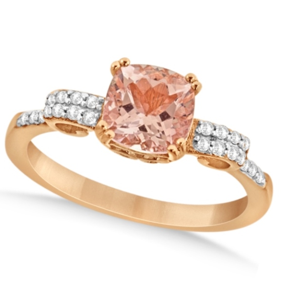 Cushion Cut Morganite Ring with Diamonds Rose Gold Vermeil 1.37ctw