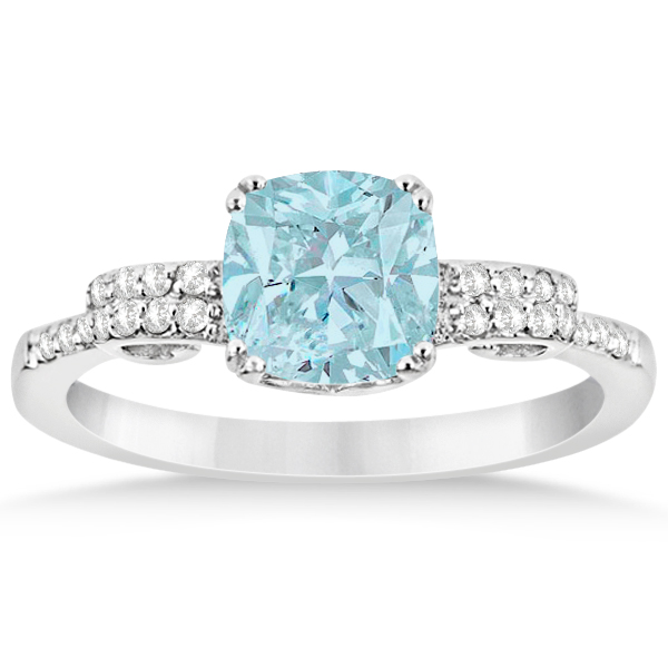 Cushion Cut Aquamarine Ring w/ Diamond Accents Sterling Silver 1.37ctw