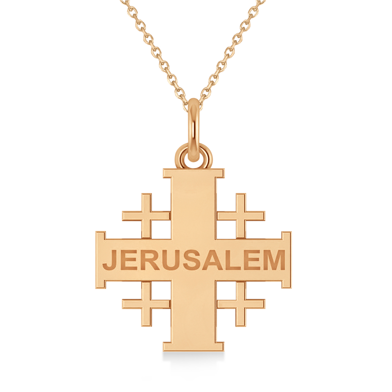 Jerusalem Engraved Cross Necklace Pendant 14k Rose Gold