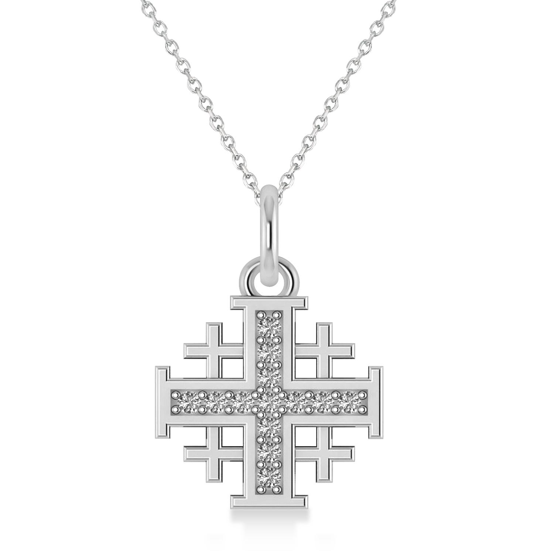 Jerusalem Cross Diamond Accented Ladies Necklace Pendant 14k White Gold (0.20ct)