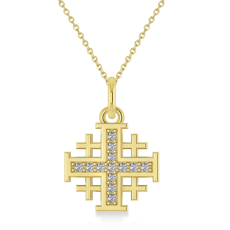 Jerusalem Cross Diamond Accented Ladies Necklace Pendant 14k Yellow Gold (0.20ct)