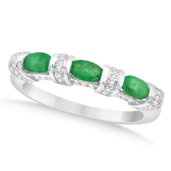 Bar Set Emerald Anniversary Ring w/ Diamonds in Sterling Silver 1.02