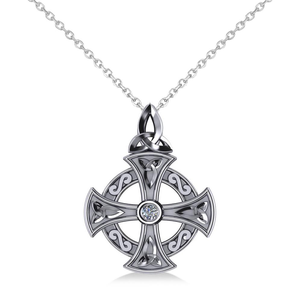 diamond celtic cross pendant necklace 14k white gold 0. Black Bedroom Furniture Sets. Home Design Ideas