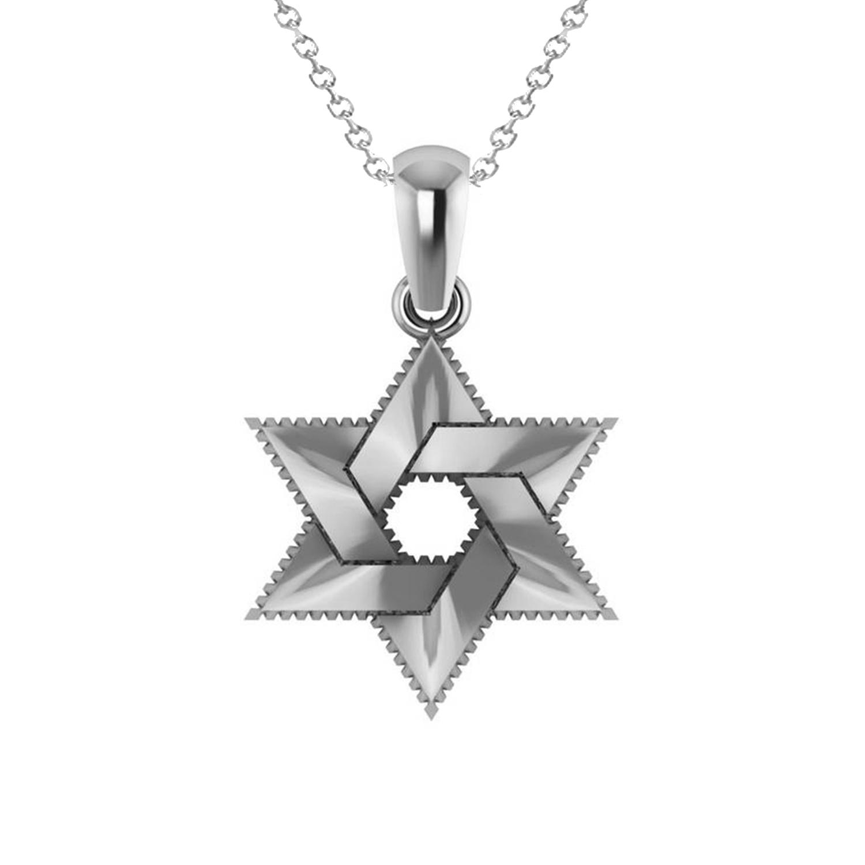 Star of David Pendant Necklace 14k White Gold