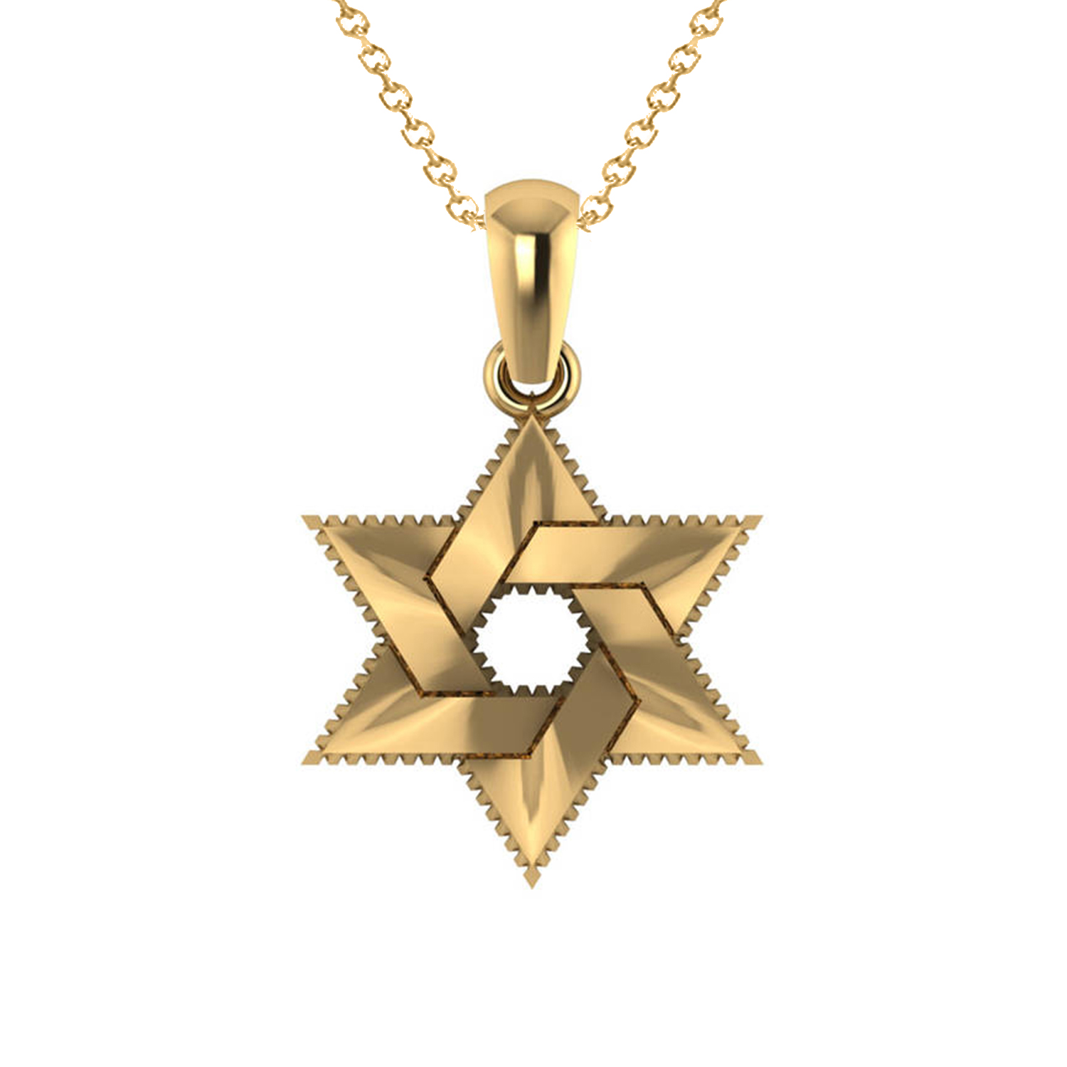 Star of David Pendant Necklace 14k Yellow Gold
