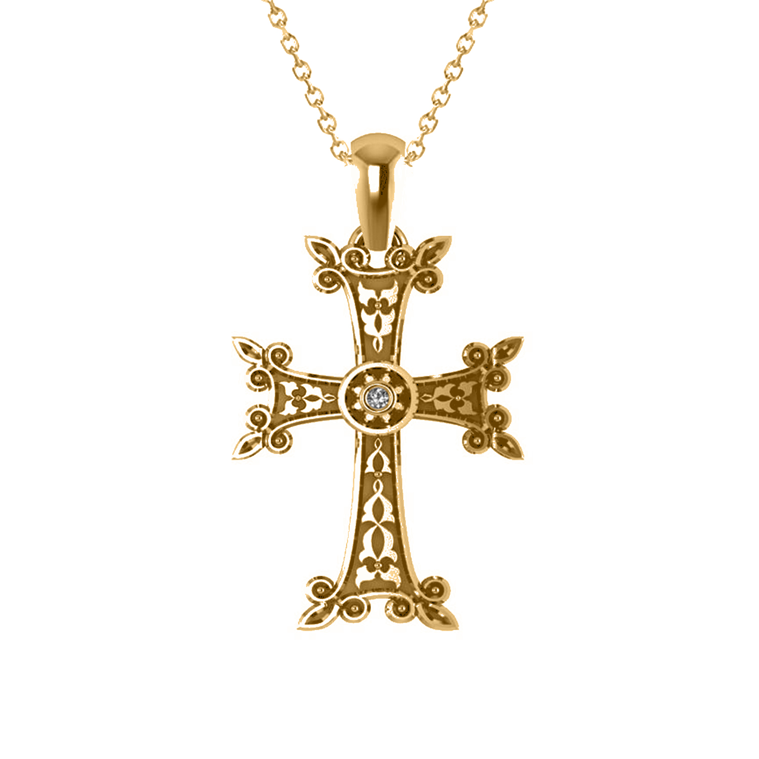 Diamond Accented Armenian Cross Pendant Necklace 14k Yellow Gold (0.01ctw)