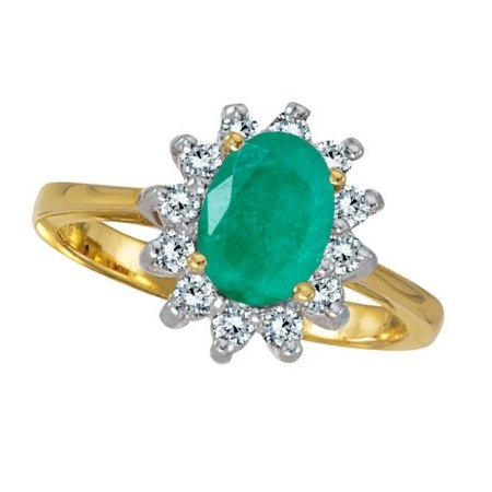 Lady Diana Oval Emerald Diamond Ring 14k Yellow Gold 1 50 Ct Cbr82