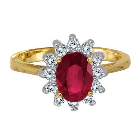 Lady Diana Oval Ruby & Diamond Ring 14k Yellow Gold (1.50 ctw)