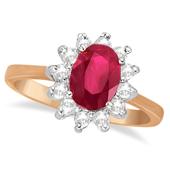 Oval Ruby & Diamond Accented Ring 14k Rose Gold (1.50ct)