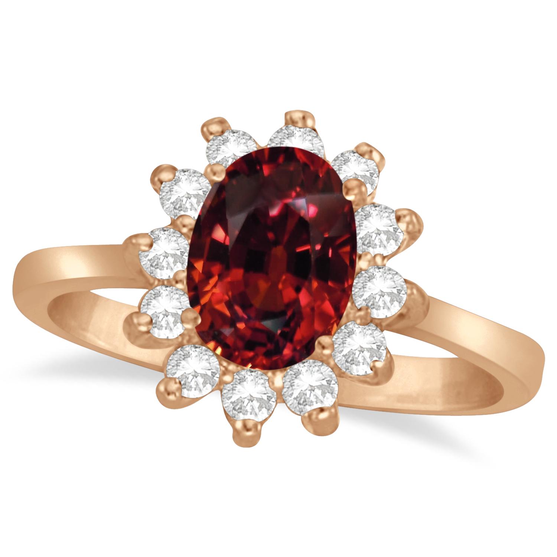 Lady Diana Oval Garnet & Diamond Ring 14k Rose Gold (1.50 ctw)