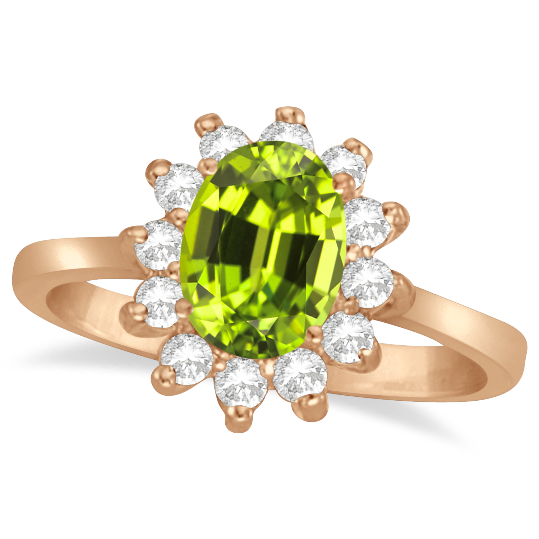 Lady Diana Oval Peridot & Diamond Ring 14k Rose Gold (1.50 ctw)