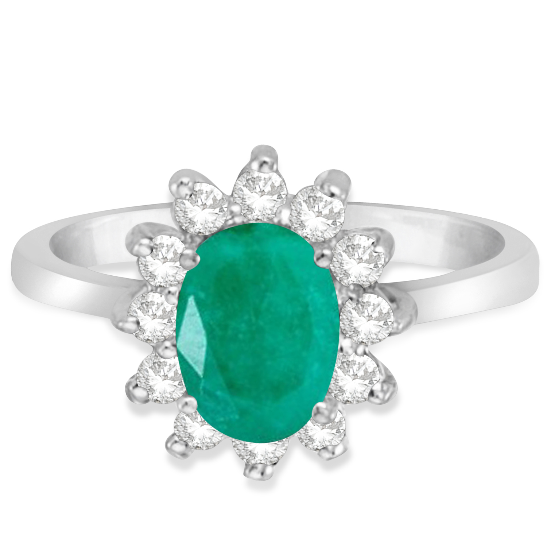 Lady Diana Oval Emerald & Diamond Ring 14k White Gold (1.50 ctw)
