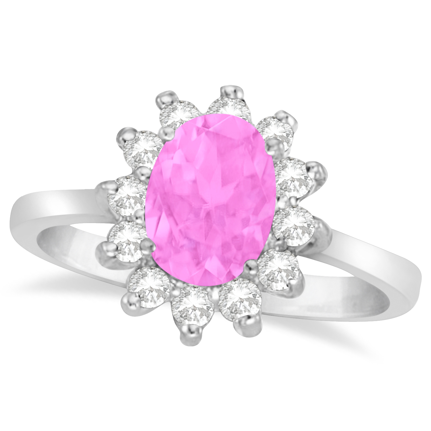 Lady Diana Oval Pink Sapphire & Diamond Ring 14k White Gold 1.50 ct ...