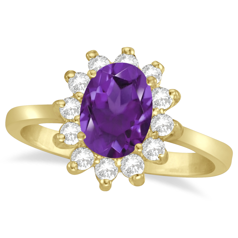 Lady Diana Oval Amethyst & Diamond Ring 14k Yellow Gold (1.50 ctw)