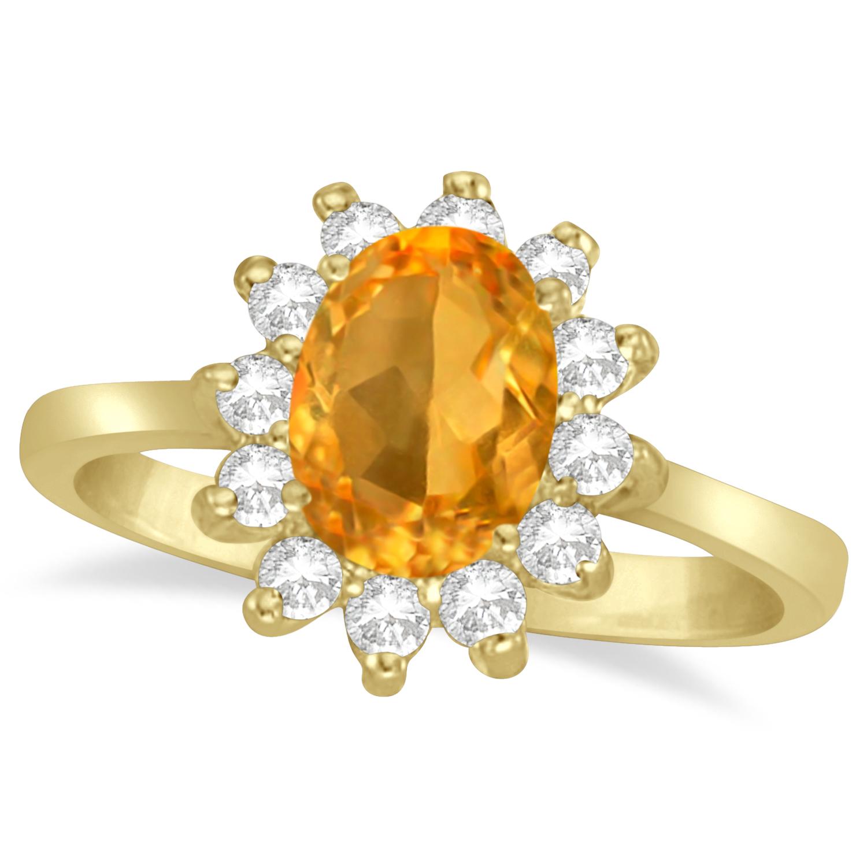 Lady Diana Oval Citrine & Diamond Ring 14k Yellow Gold (1.50 ctw)