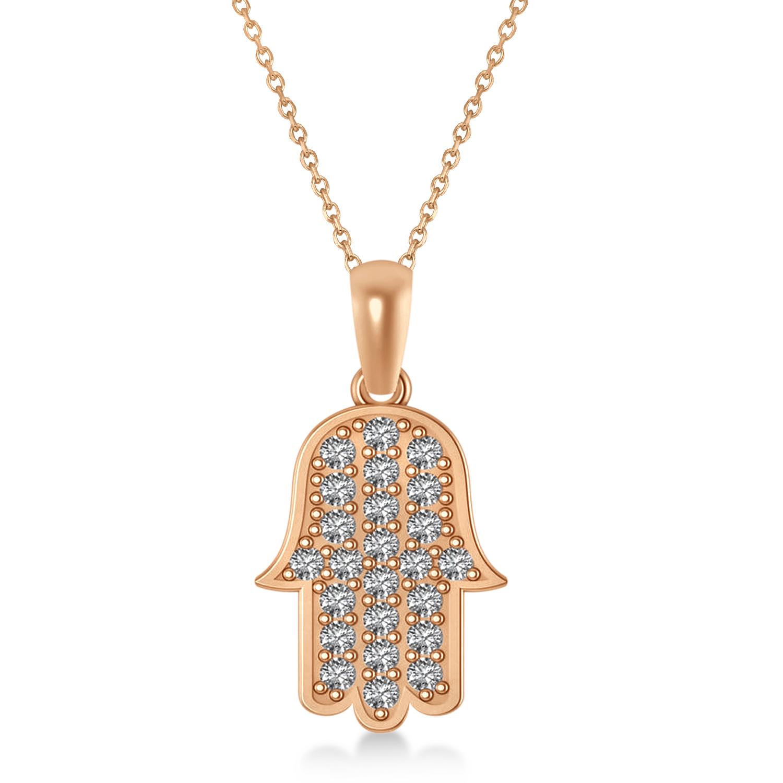 Diamond Hamsa Pendant Necklace 14k Rose Gold (1.44ct)