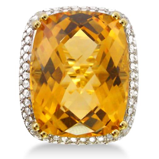 Cushion Cut Citrine & Diamond Cocktail Ring 14k Yellow Gold (17.60ct)