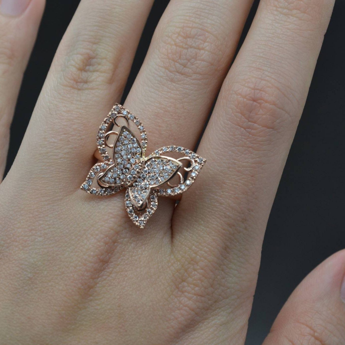 Contemporary Butterfly Shaped Diamond Ring 14k Rose Gold (1.00ct)