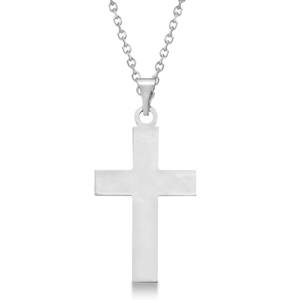 Cross Pendant for Men or Women in 14k White Gold