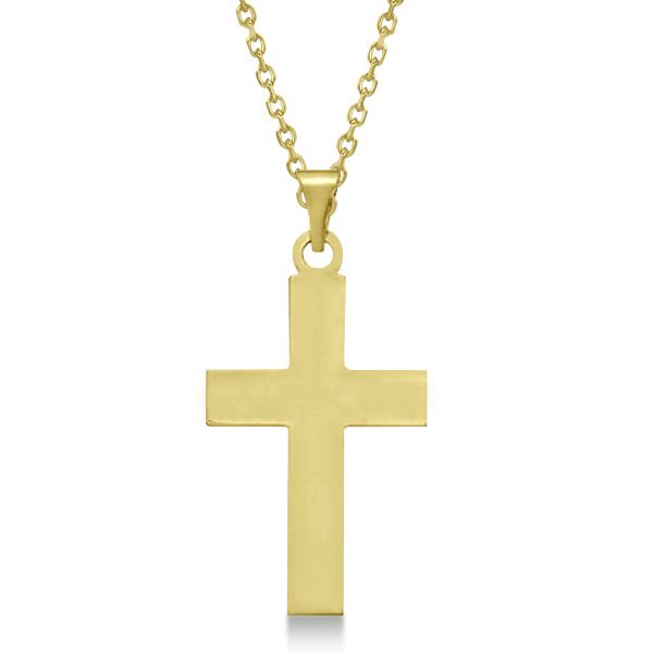 Cross Pendant for Men or Women in 14k Yellow Gold