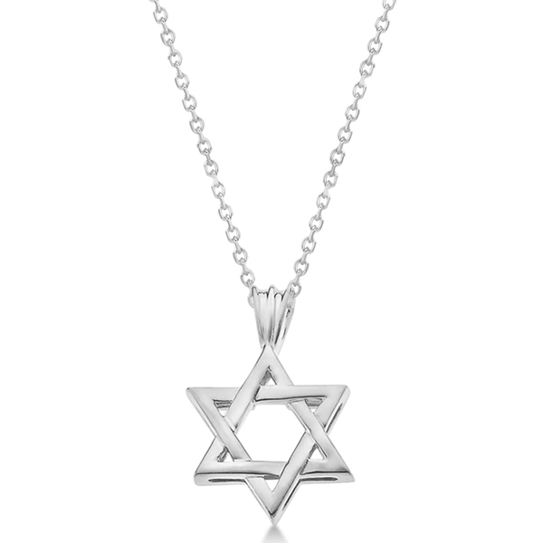 Classic Jewish Star of David Pendant Necklace Solid 14k White Gold