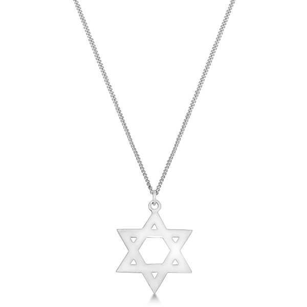 Textured Star of David Pendant Necklace in Hammered Sterling Silver