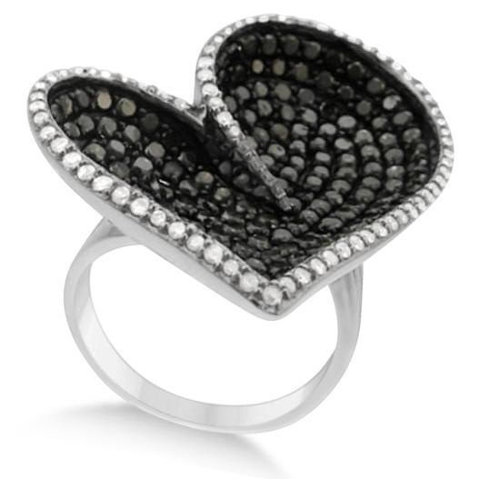 Big White & Black Diamond Heart-Shaped Ring 14k White Gold (3.75ct)