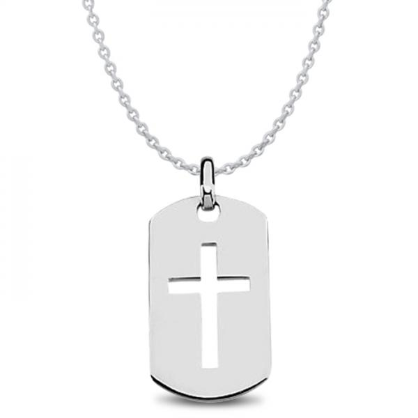 Men's Dog Tag Pendant with Cross Crafted in Polished Sterling Silver