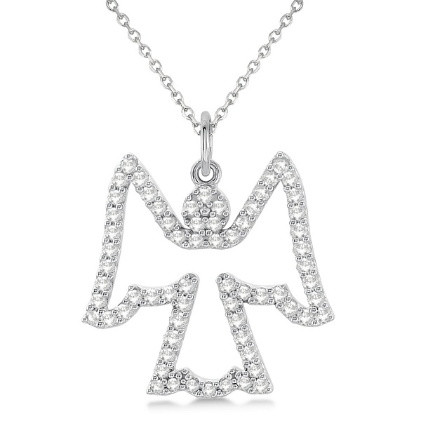 Diamond Angel Pendant Necklace 14k White Gold (0.33ct)