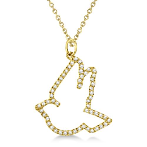 Diamond Dove Pendant Necklace 14k Yellow Gold (0.25ct)