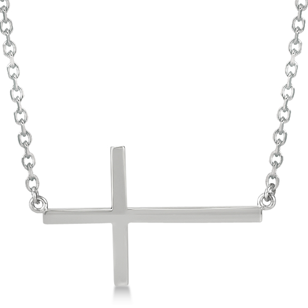 Unisex Sideways Cross Necklace Religious Pendant  in 14k White Gold