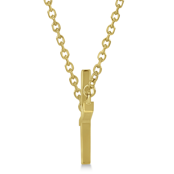 Unisex Sideways Cross Necklace Religious Pendant in 14k Yellow Gold