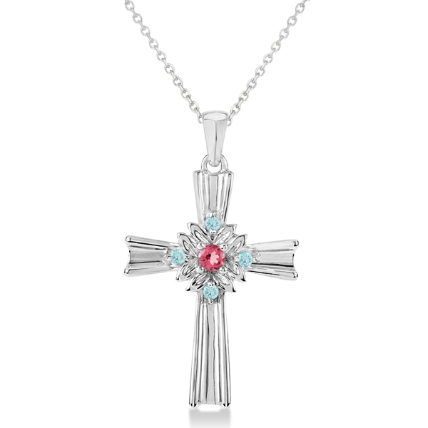 Pink Tourmaline & Blue Topaz Cross Pendant Necklace in Sterling Silver