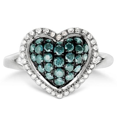 White & Fancy Blue Diamond Heart Shaped Ring 14k White Gold (0.80ct)