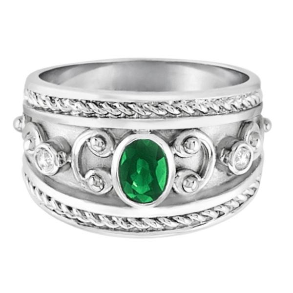 Oval Shaped Emerald & Diamond Byzantine Ring 14k White Gold (0.73ct)