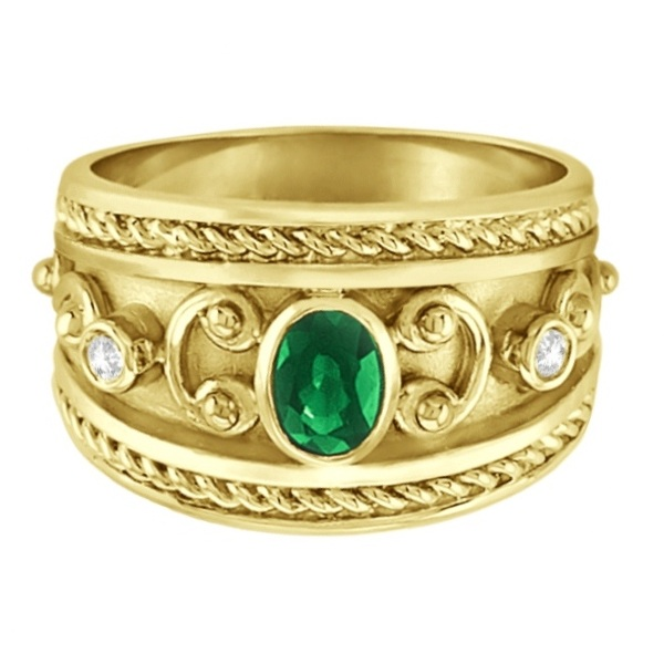 Oval Shaped Emerald & Diamond Byzantine Ring 14k Yellow Gold (0.73ct)
