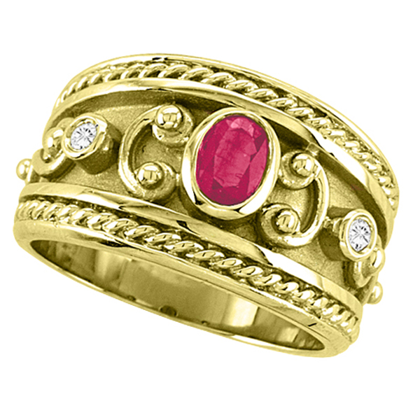 Oval Shaped Ruby & Diamond Byzantine Ring 14k Yellow Gold (0.73ct)