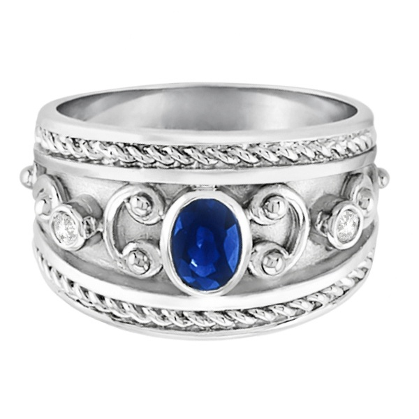 Oval Blue Sapphire & Diamond Byzantine Ring 14k White Gold (0.73ct)