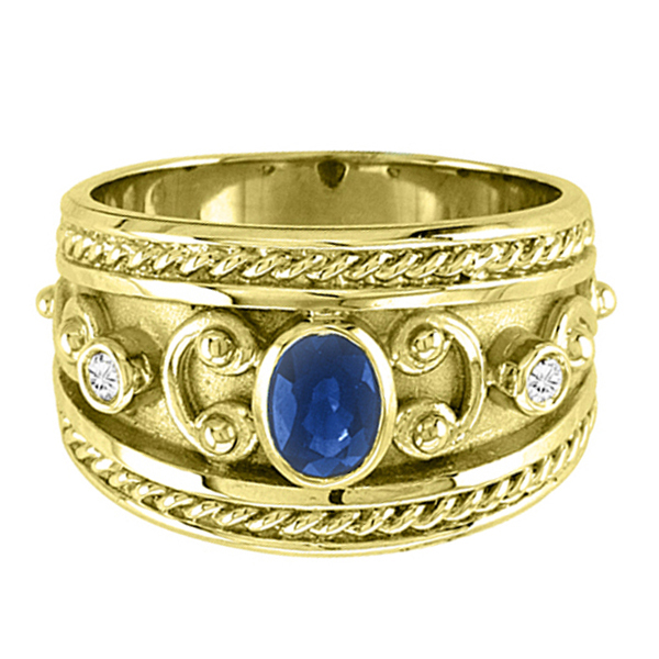 Oval Blue Sapphire & Diamond Byzantine Ring 14k Yellow Gold (0.73ct)