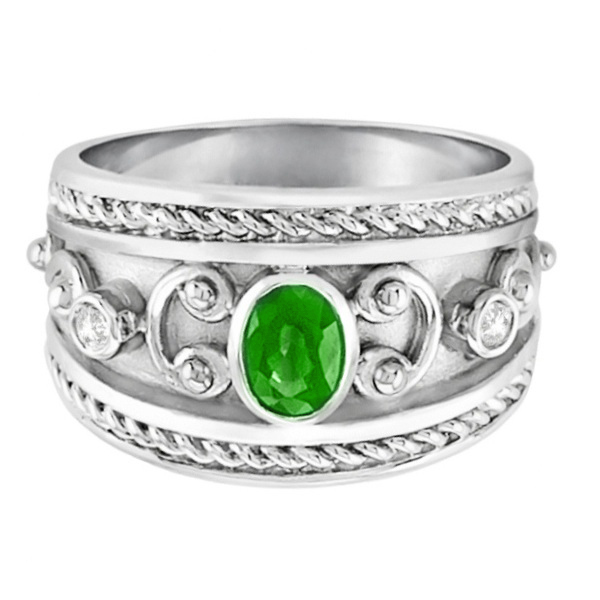 Oval Tsavorite & Diamond Byzantine Ring Sterling Silver (0.73ct)