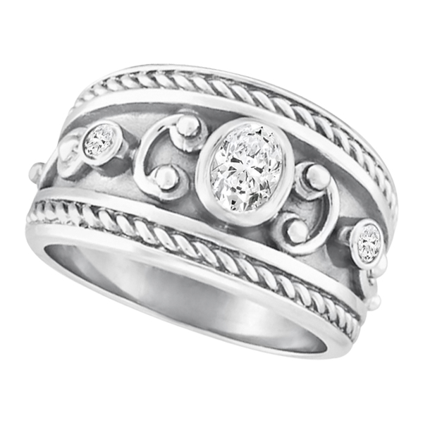 Diamond Byzantine Ring in 18k White Gold (0.56 ctw)