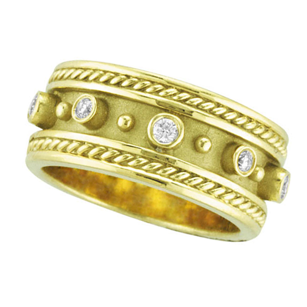 Antique Style Etruscan Diamond Ring in 18k Yellow Gold (0.18 ctw)