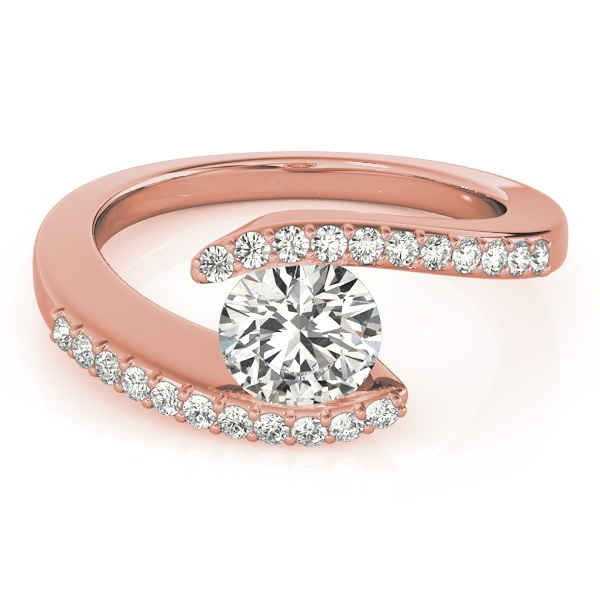Diamond Accented Tension Set Engagement Ring 18k Rose Gold (0.17ct)